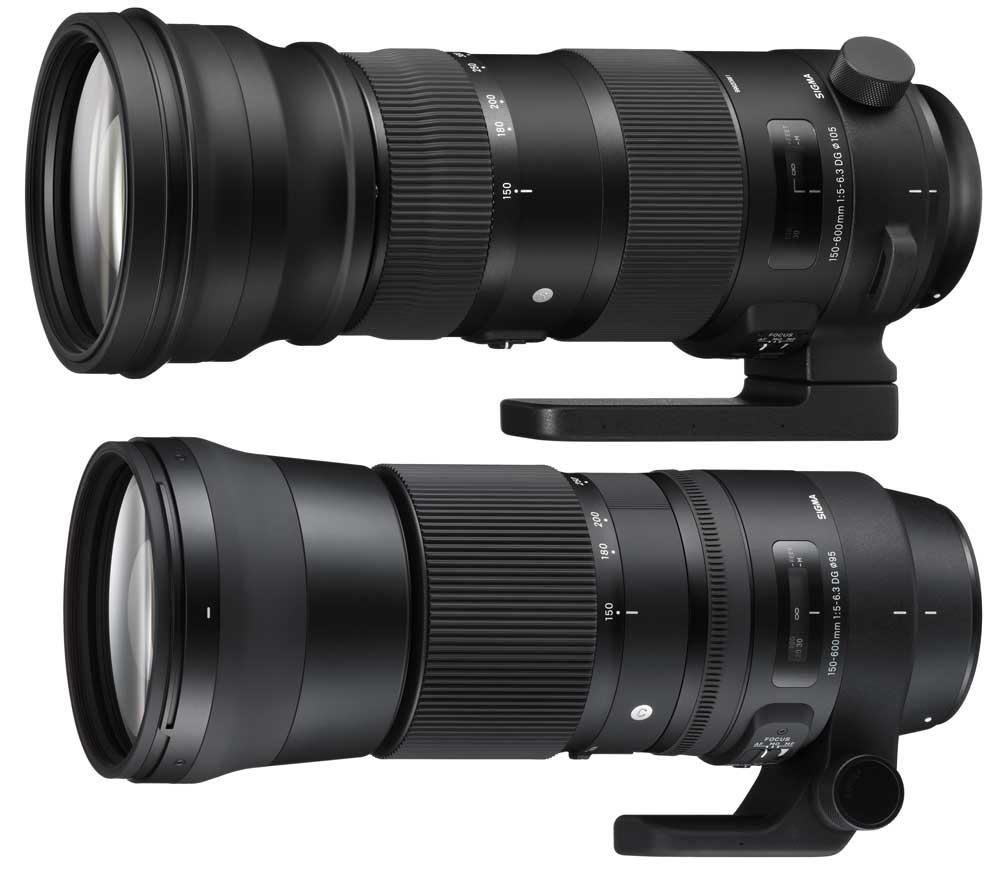 oben das Sports 150-600mm F5-6,3 DG OS HSM, darunter das Contemporary 150-600mm F5-6,3 DG OS HSM